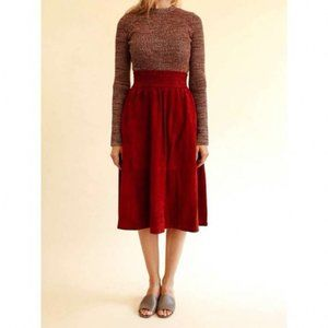 NEW Apiece Apart Mina Suede Midi Skirt Red Rocks